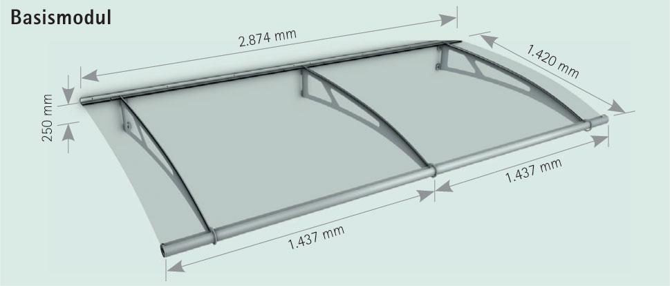 SCHULTE LT-Line XL modulares Pultbogenvordach Vordach Haustürvordach 6 mm